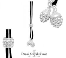 Dansk Smykkekunst Copenhagen,lange Kette, S925 pl, Schwarz & Silber, Leder,9C144