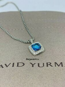 David Yurman Petite Albion Pendant Necklace with Blue Topaz and Diamonds