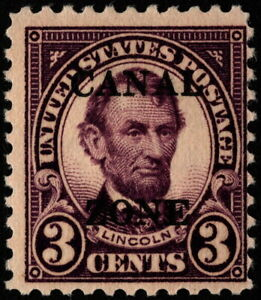 Canal Zone - 1925 - 3 Cents Violet Abraham Lincoln Overprinted Issue #85 Mint