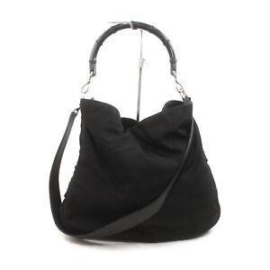 Gucci Shoulder Bag Bamboo Black Canvas 1417854