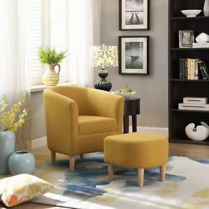 Modern Accent Arm Chair Upholstered Chair Fabric Single Sofa + Ottoman Foot Rest