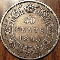 1885 NFLD NEWFOUNDLAND SILVER 50 FIFTY CENTS - Nicer example!