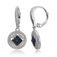 Sterling Silver Blue Diamond Accent Filigree Medallion Dangle Leverback Earrings
