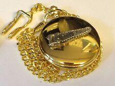 Reloj de Bolsillo Estaño TG35 vio en Oro Cuarzo Fob