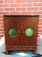~RARE ANTIQUE PRIMITIVE COUNTER PIE SAFE WITH STAIN GLASS CUBBY BOX STORAGE~