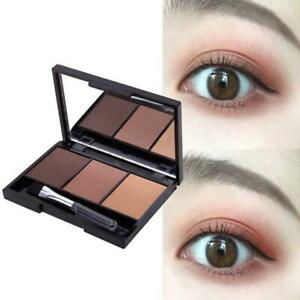 Eyebrow Press Powder Kit - 3 in 1 COLOR With Brush Kit - Makeup Brow O7Y9