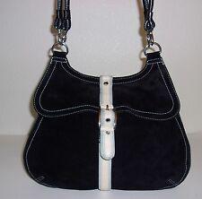 Cole Haan Black Suede Hobo Purse Handbag Shoulder Bag