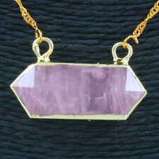 Crystal Rose Quartz Chakra Gemstone Connector Charm Pendant Bead Fit Necklace