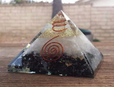 EXTRA LARGE (70-75mm) BLACK TOURMALINE/SELENITE ORGONE GEMSTONE PYRAMID X-LARGE