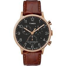 Reloj de Hombre TIMEX WATERBURY TW2R71600 Chrono Cuero Brown Gold Rose Negro