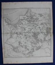 Original antique map, POLAND, GDANSK, WARSAW, VISTULA, KONIGSBERG, Dufour, 1859
