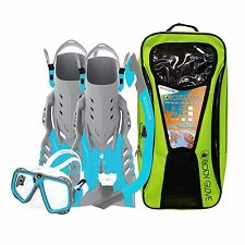 BODY GLOVE YOUTH SNORKEL SET COLOR: BLUE/GRAY FIN SIZE L/XL (SHOE SIZE) 1-4  NEW