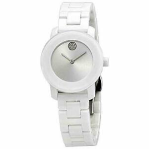 Movado Bold White Ceramic Crystal Dot Woman's Swiss Watch 3600616