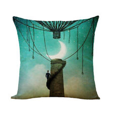 Chimney Steampunk Stairs Balloon Manga  Linen Square Pillow Cushion Cover.