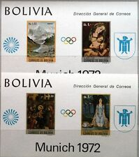 BOLIVIA BOLIVIEN 1972 Block 34-35 Summer Olympia Olympics Munich Paintings MNH