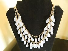 "Gold Tone 3 Tier White Faux Gem Chain Necklace  17 1/4""- 19 1/4"" Long"