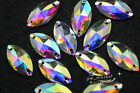 Acrylic beads Navette AB Faceted Sew On Flat Back Jewels