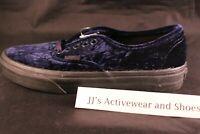 NIB VANS AUTHENTIC (VELVET) Navy Black Skate Shoes SZ Mens 7 Womens 8.5 HTF