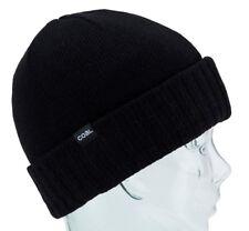 Coal Headwear THE ROWAN Unisex Lambswool Blend Cuffed Beanie Black NEW