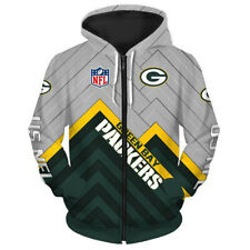 Green Bay Packers Zipper Hoodie Sport Sweatshirt Leisure Hooded Jacket Fans Gift