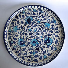 Multani Hand Painted Pottery Plant Tray Platter Blue White Flower Floral 10-1/2""