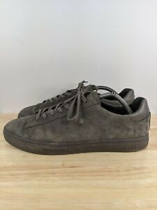 Clae Los Angeles Gray Leather Lace Up Sneakers Shoes Sz 9.5 Us