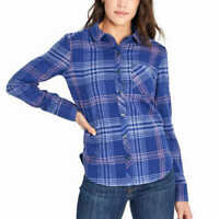 Orvis Womens Stretch Flannel Long Sleeve Button Down Shirt Blue Plaid Size Small
