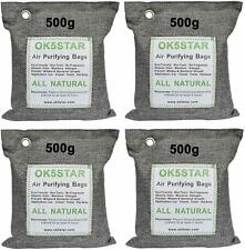 4 x 500G Air Purifying Bag, Activated Bamboo Charcoal Deodorizer Odor Eliminator