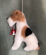 WIRE FOX TERRIER hanging dog Christmas decoration. Part NEEDLE FELTED