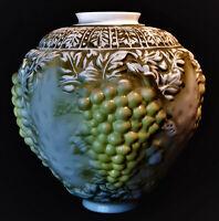 """Victorian 12"""" Milk Glass White Embossed Grapes Lamp Shade - Antique Verdigris"""