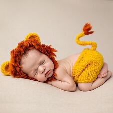 Newborn Unisex Lion Crochet Knit Costume Photo Photography Prop Hats Pant Outfit