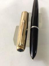 Parker 51 Mark 1 1/10 12ct G.F Cap Black Gold T FP 14k Fine USA Excellent