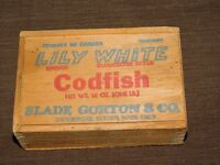 VINTAGE SLADE GORTON & CO LILY WHITE GLOUCESTER STYLE CODFISH BOX
