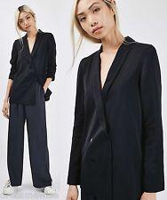 TOPSHOP Navy Self Spot Soft Tailored Jacket Blazer Size 6 to 16
