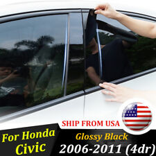 Black Pillar Posts For Honda Civic 2006-2011 (4dr) 6pc/Set Door Trim Cover Kit