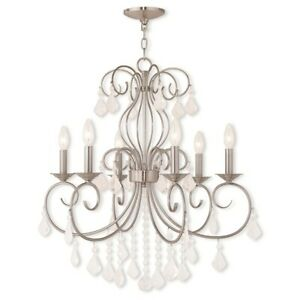 Livex Donatella 6 Light Chandelier, Brushed Nickel/Clear Crystals - 50766-91