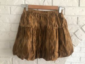 PEEK Silk/Cotton Brown Shantung Ikat Girls Skirt Size 8