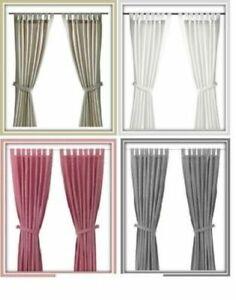 IKEA LENDA Curtains With Tie Backs,One Pair,140x250 cm,White/Light Beige/Grey