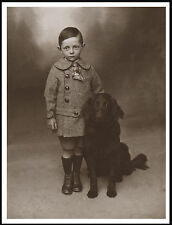 Flat Coated Retriever Little Boy And Dog Lovely Vintage Style Dog Print Poster