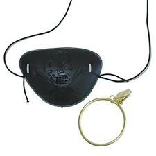 Pirate mens ladies gold clip on earring & black eye patch costume accessory