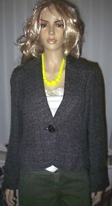 New MARKS & SPENCER Short Waisted Tailored One Button Black & Grey Jacket