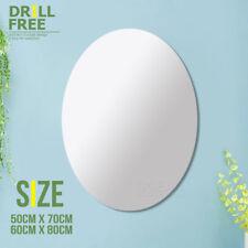 Drill Free Oval Wall Mirror Large Vanity Bathroom Bedroom Decor Mirror 70cm/80cm