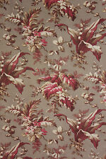 Cotton Fabric circa 1880 Antique French Gray & Red Tones Selvages Intact