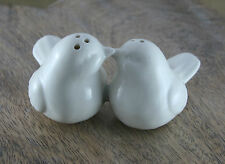 Vintage White Love Birds Salt and Pepper Pots Novelty Retro Chic