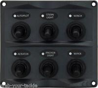 Marine Switch Panel 6Gang Splashproof Toggle LED Back Indicator Light 12/24 Volt