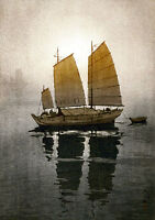 Sailing Boats Morning 15x22 Hand Numbered Japanese Print Yoshida Asian Art