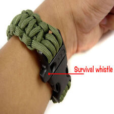 Army Green Outdoor Climbing Rope Bracelet 7 Core Cords With Survival Whistle New
