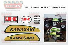 1971 Kawasaki KV75MT Decals Parnelli Jones Motorcycle Repro 8Pc Vinyl Mini-Trail