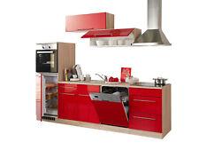 Küche mit Elektrogeräten Einbauküche Küchenzeile Küchenblock 280cm hochglanz rot