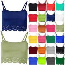 Ladies Lace Plain Sleeveless Bra Bralet Trim Cami Cros Vest Strappy Blouse Top
